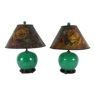 1930s Chinese Emerald Crackle Lamps - a Pair For Sale