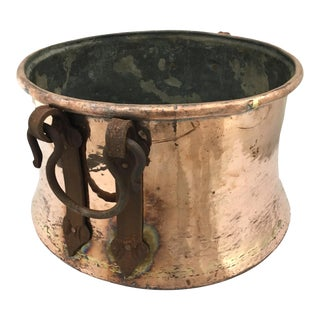 Reclaimed Vintage Copper Cauldron For Sale