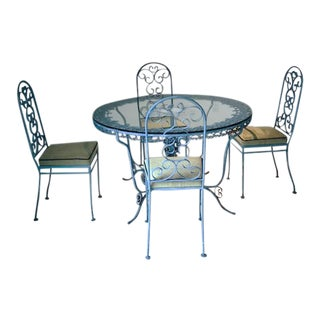 Victorian Blue Wrought Iron & Glass Dining Set For Sale