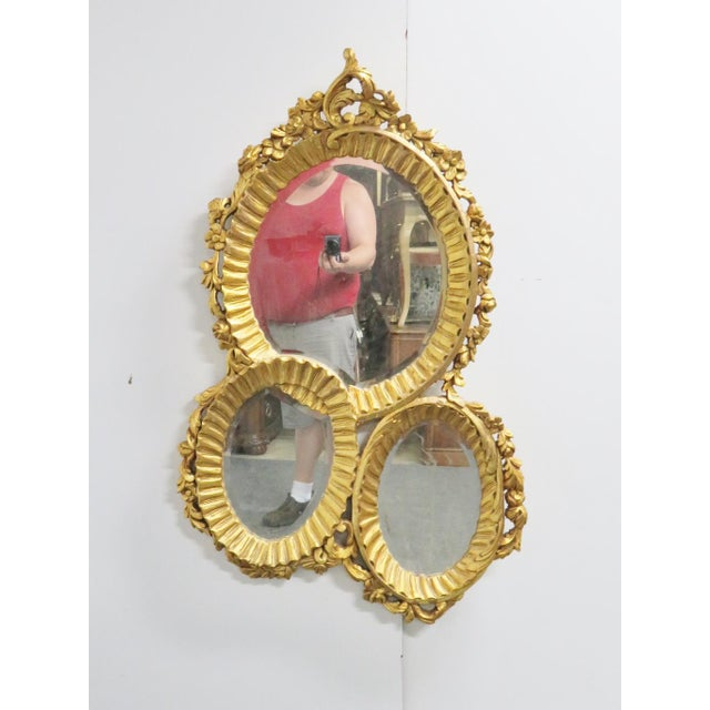 Late 20th Century Italian Baroque Carved 3 Section Wall Mirror For Sale - Image 5 of 5