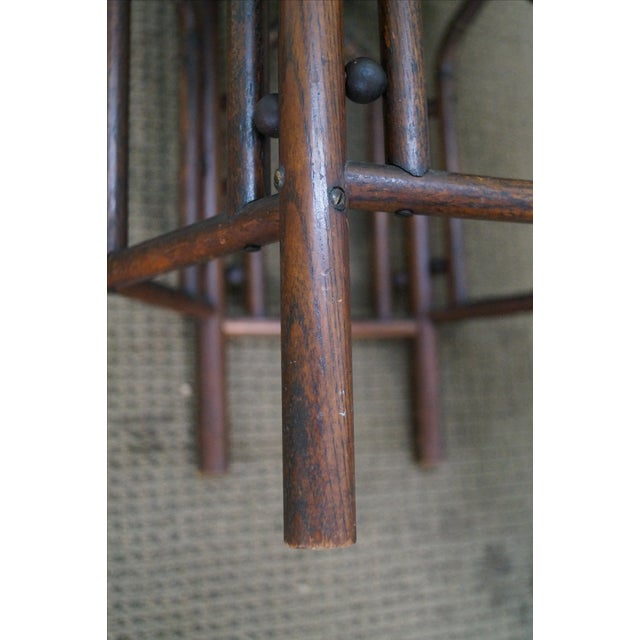 Antique Oak Stick & Ball Hexagon Taboret Plant Stand For Sale - Image 10 of 10