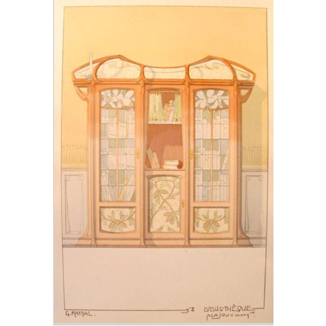 Vintage French Decorator Sheet Interior/Bookcase - Image 3 of 3
