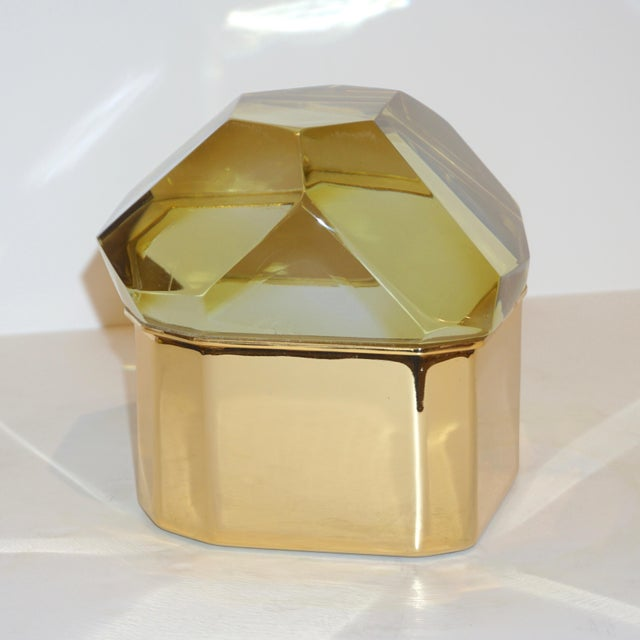 Contemporary Toso Italian Modern Diamond-Shaped Gold Murano Glass and Brass Jewel-Like Box For Sale - Image 3 of 10