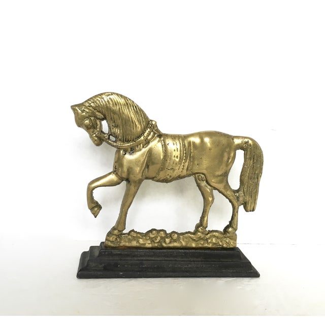 Flat-Back Brass and Cast Iron Horse Door Stop - Image 2 of 4