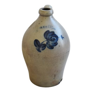 Antique Cobalt Decorated Floral New York Lyons Stoneware Jug For Sale
