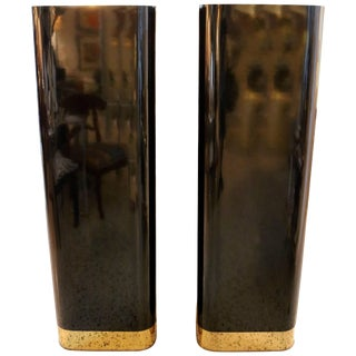 Black Laminate and Polished Brass Trim Pedestals - a Pair For Sale