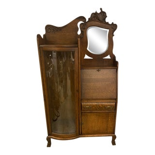 Oak Side by Side Desk Curio Cabinet Bookcase For Sale