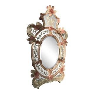 1830s Antique Venetian Baroque Mirror W/ Pink Detail