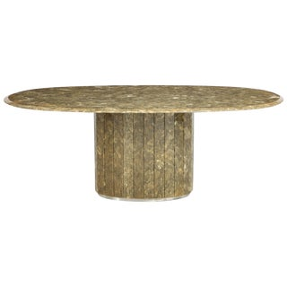 1970s Organic Modern Marcasite and Resin Oval Dining Table For Sale