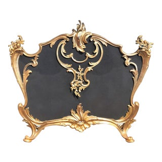 Exceptional Quality Antique French Louis XV Bronze d'Ore Firescreen, Circa 1850. For Sale
