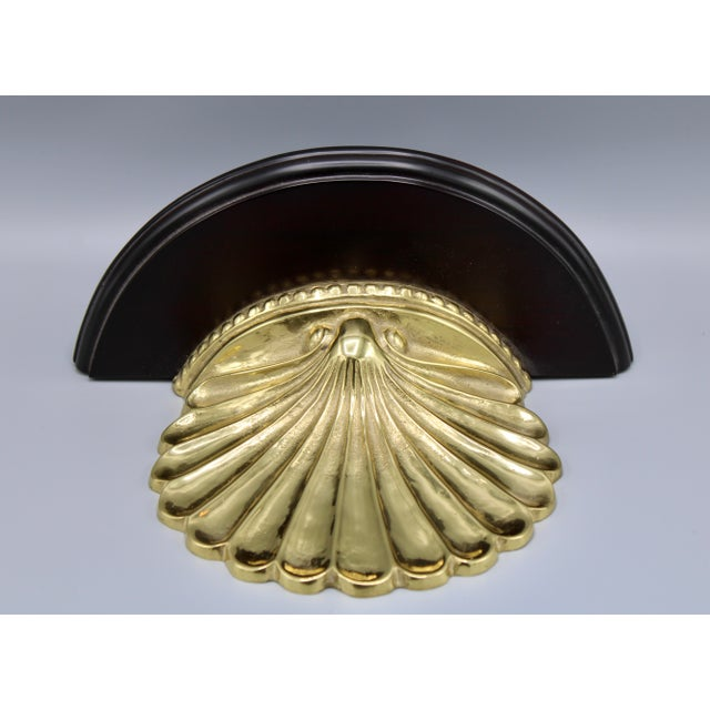 Late 20th Century Coastal Wood and Brass Clam Shell Wall Shelves - a Pair For Sale - Image 5 of 13