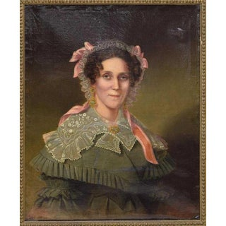 Mid 19th C. Vintage Framed Portrait of an American Woman Oil Painting For Sale