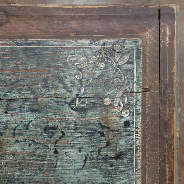 Blue 19th Century Rustic Swedish Painted Trunk For Sale - Image 8 of 13