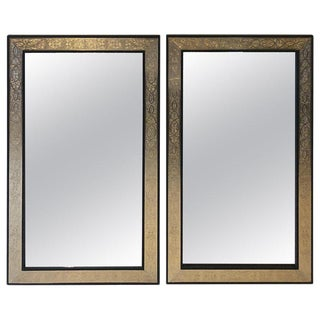 Pair of Hollywood Regency Brass Over Wood Moroccan Black Mirrors For Sale