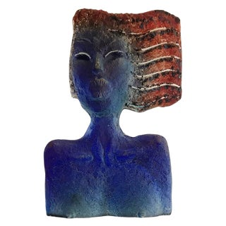 Glass Sculpture of a Woman Bust on a Metal Pedestal For Sale