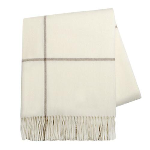 Ecru/Taupe Windowpane Cashmere Throw For Sale