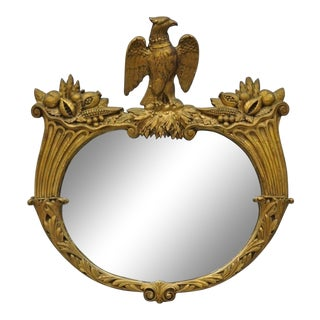 Antique Gold Gilt Gesso Federal Style Wall Mirror With Eagle and Cornucopia For Sale