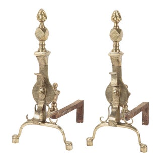 English Regency Etched Brass Andirons - A Pair For Sale