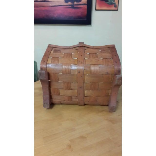 Brown Early 20th Century Antique Split Oak Fireside Basket For Sale - Image 8 of 9