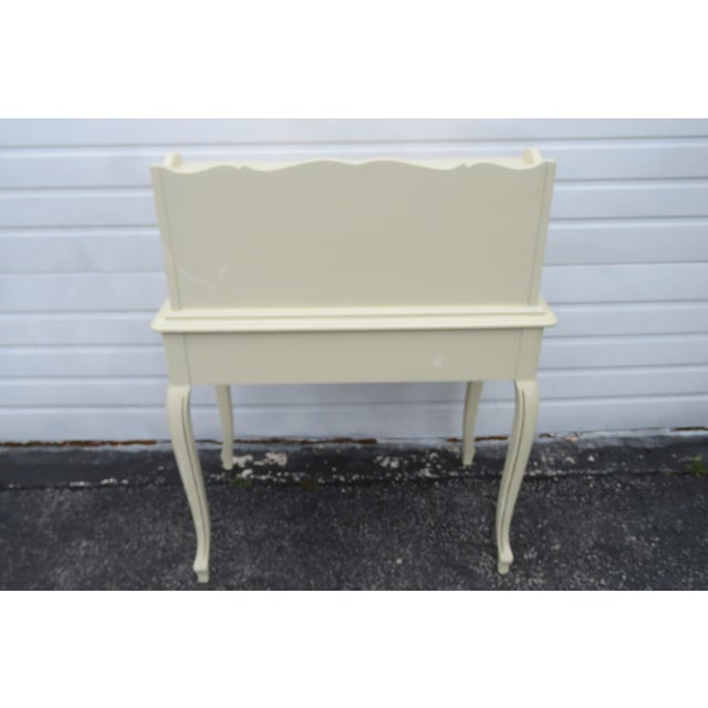 Metal French Painted Leather Top Vanity Writing Desk With Flip Up Mirror 1272 For Sale - Image 7 of 13