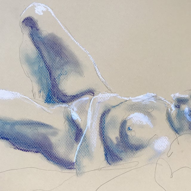 Nude Blue & White Drawing - Image 3 of 3
