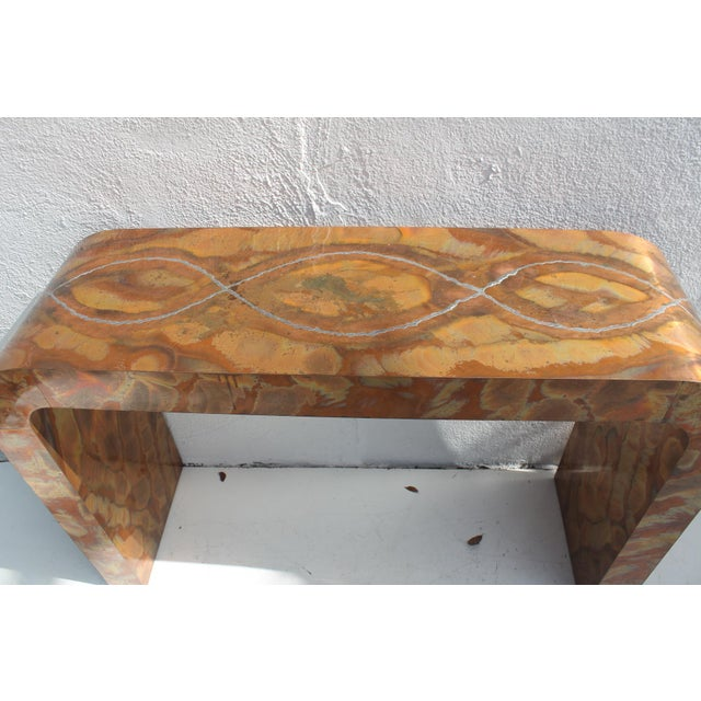 Paul Evans Style Waterfall Copper Console Table For Sale - Image 9 of 11