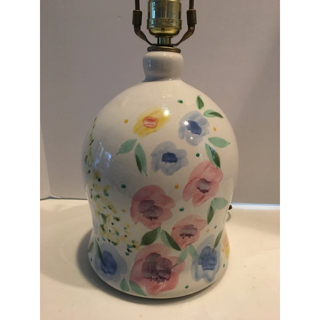 1980s 1980s Floral Painted Pottery Lamp For Sale - Image 5 of 6