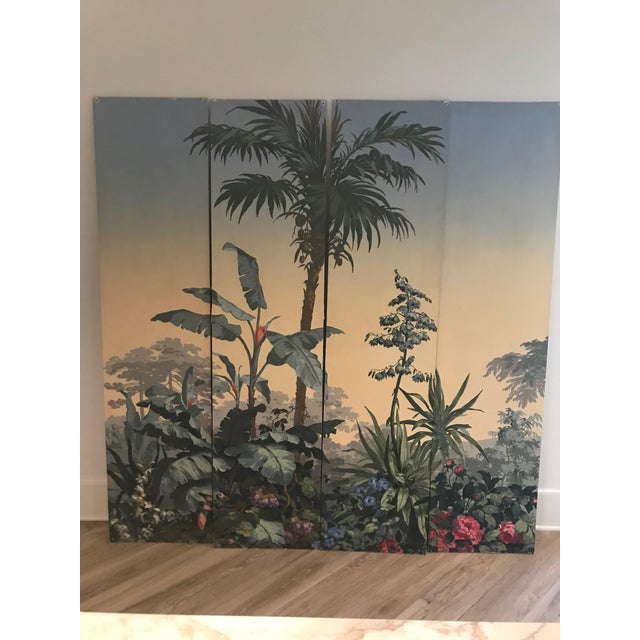 "Four panels each 18.5""wide x 76.5"" tall. When mounted together- 74"" wide x 76.5 tall. The consecutive panels are mounted..."