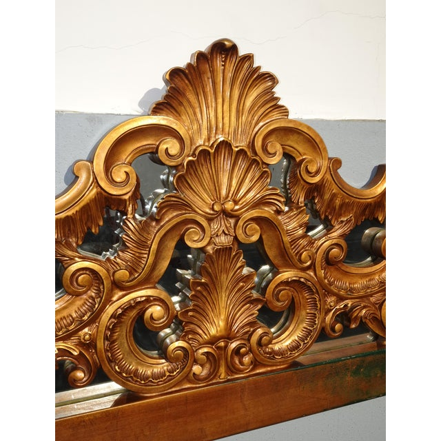 Wood Vintage French Provincial Louis XVI Rococo Gold King Headboard Mirror & Scrolls For Sale - Image 7 of 13
