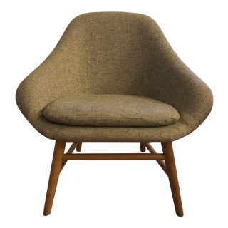 """West Elm Feather Gray """"Mylo"""" Upholstered Chair For Sale"""