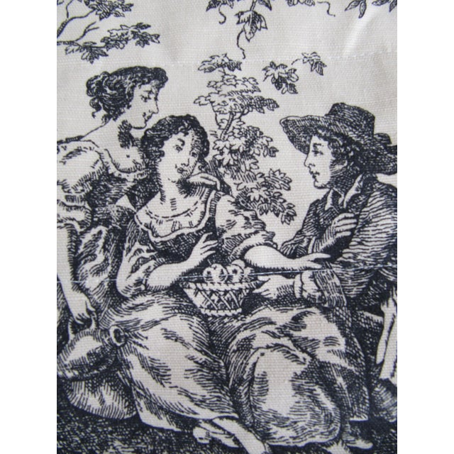 Pair of vintage black and white window valences depicting a French provincial scene. Marked Waverly 100% cotton. Measures...