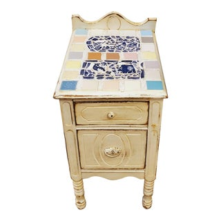 Antique Distressed Painted Mosiac Tile Top Bedside Nightstand Table For Sale