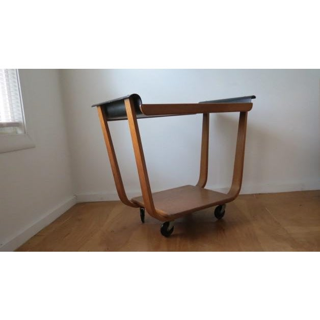 1950s Mid-Century Modern Cees Braakman for Pastoe Birch Tea Cart For Sale In Chicago - Image 6 of 12