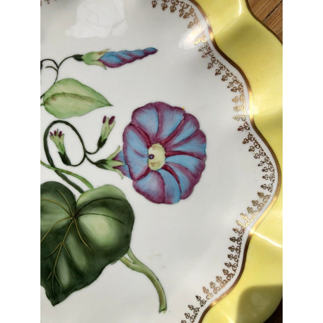 Chelsea House Inc Large Vintage Chelsea House Scalloped Porcelain Botanical Floral Plates- a Pair For Sale - Image 4 of 12