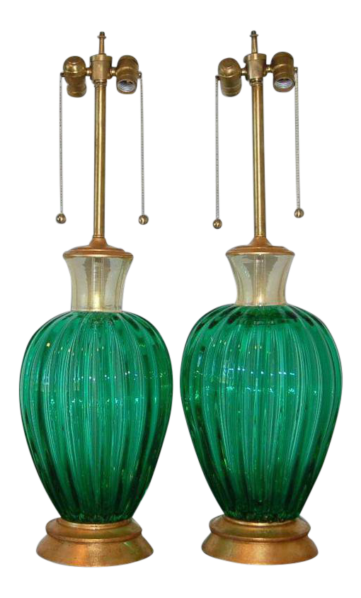 Lovely Seguso Vintage Murano Glass Table Lamps Green Decaso