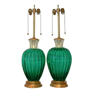 Seguso Vintage Murano Glass Table Lamps Green