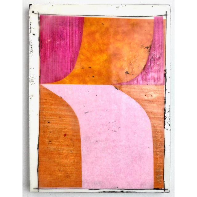 """Tickled"" Encaustic Collage Painting - 9 Piece Installation by Gina Cochran - Pink & Orange For Sale - Image 11 of 13"
