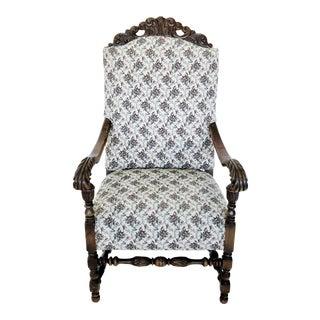 1910s Antique Renaissance Revival Louis III Louis XIV Fauteuil Armchair For Sale
