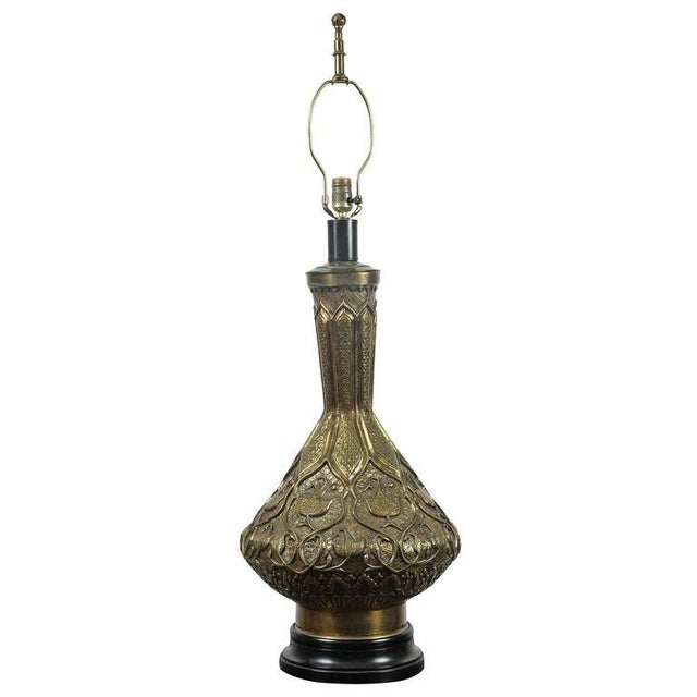 Gold Moorish Indo Persian Brass Table Lamp For Sale - Image 8 of 8