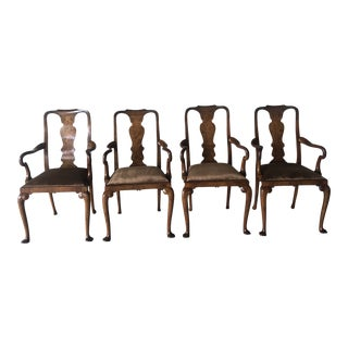 Antique Queen Anne Walnut and Burl Walnut Armchairs - Set of 4 For Sale