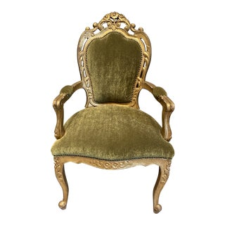 Louis XIV Hand-Carved Side Chair in Avocado Mohair For Sale