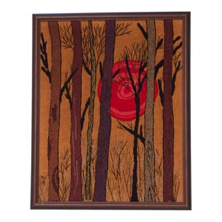 Mid-Century Nature Study Crewel Embroidery Wallhanging For Sale