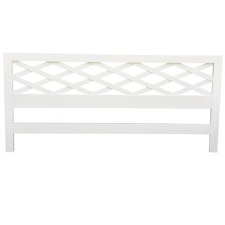 Paul Frankl Style White Lacquered Wood King-Size Headboard For Sale