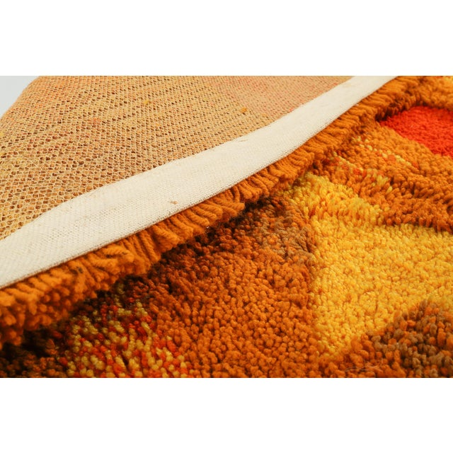 1960s Orange and Yellow Op Pop Mod Woven Tapestry / Rug - 3′6″ × 5′5″ For Sale - Image 5 of 7