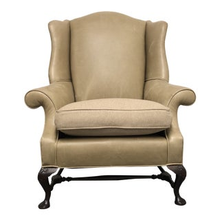 Sutter Furniture Leather Wingback Chair & Fabric Cushion by Holly Hunt For Sale