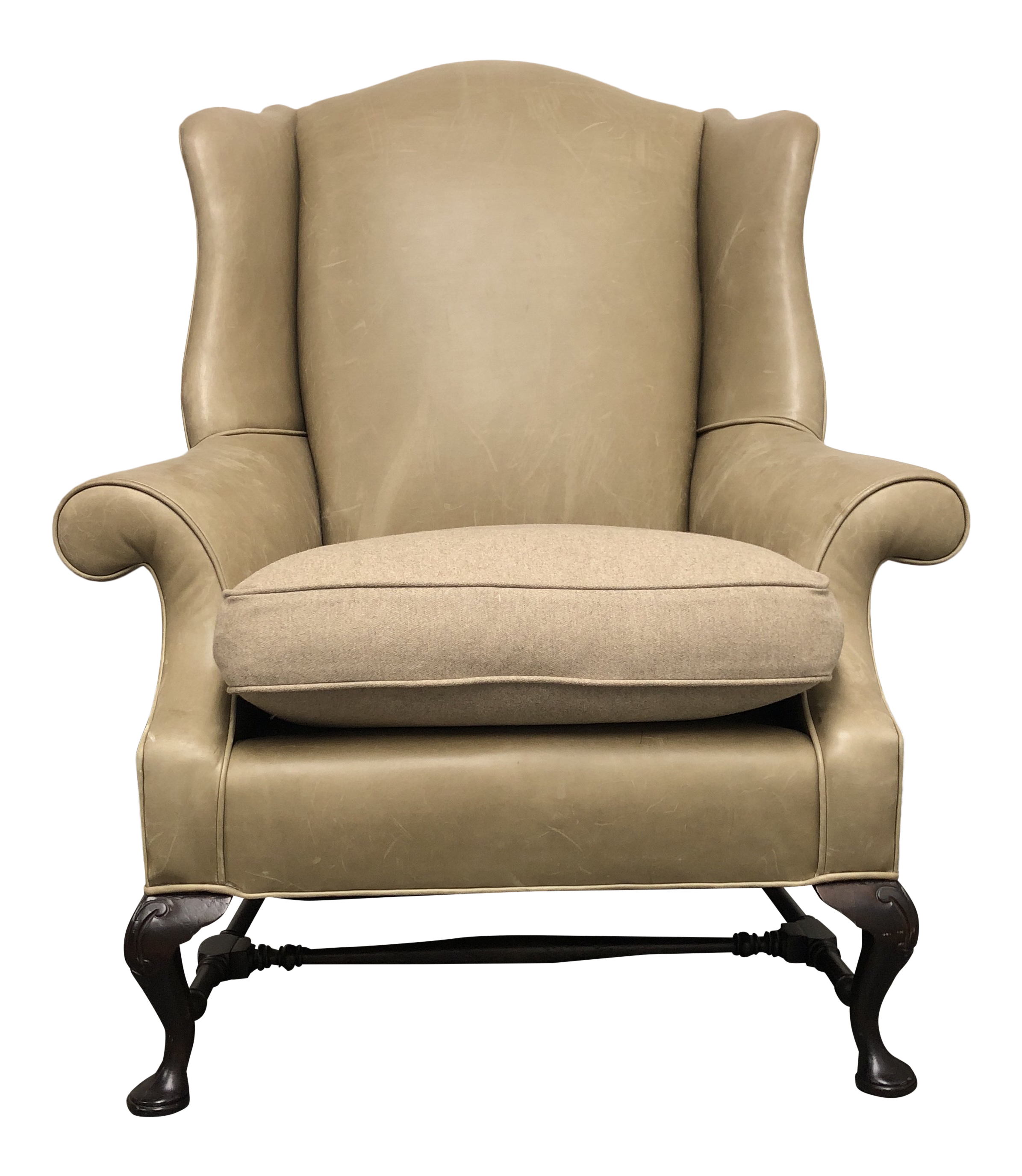 Sutter Furniture Leather Wingback Chair U0026 Fabric Cushion By Holly Hunt For  Sale
