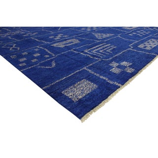 New Contemporary Blue Moroccan Area Rug With Modern Bauhaus Style - 12'4 X 15'3 Preview