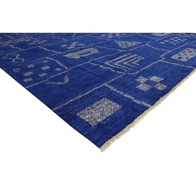 80365 New Contemporary Blue Moroccan Area Rug with Modern Bauhaus Style - 12'4 X 15'3. This hand knotted wool contemporary...