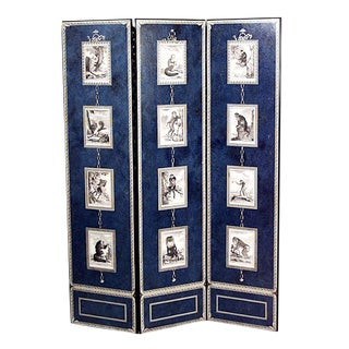 20th Century French Victorian Style Blue Painted Three-Fold Screen For Sale