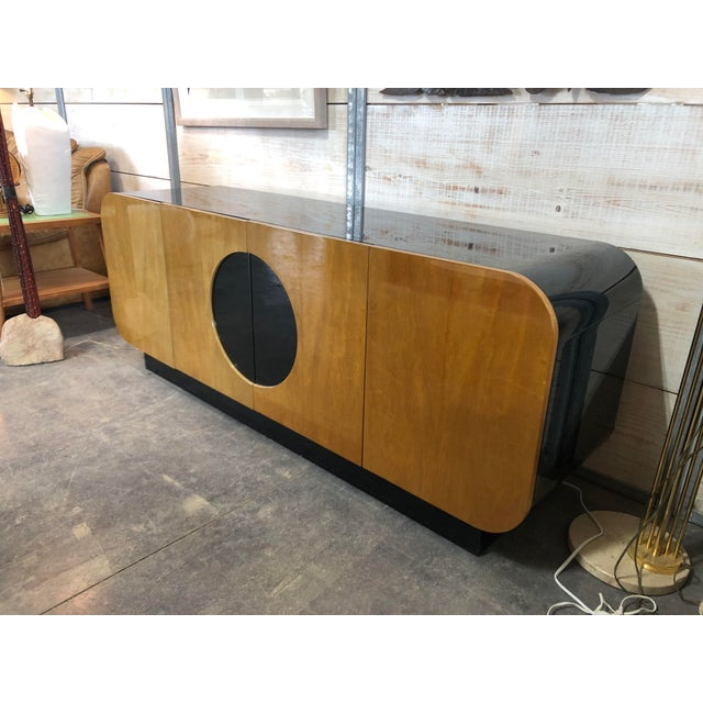 Amazing modern wood and black lacquered credenza by Casa Bique